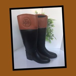 Tory Burch • Diana Leather Trimmed Rain Boots